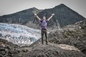 Man Celebrating Freedome In nature With Glacier-11